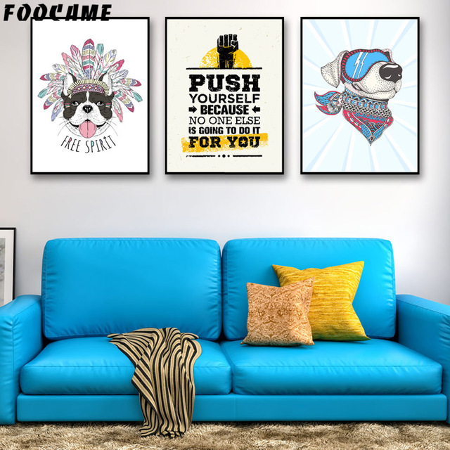 Foocame cartoon india dogs glasses letter posters and prints art foocame cartoon india dogs glasses letter posters and prints art canvas painting modern home decor wall solutioingenieria Images
