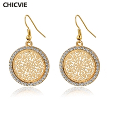 CHICVIE Ethnic Big Round Gold Color Drop Earrings for Women Statement Crystal Wedding Earings Vintage Fashion Jewelry SER140389(China)