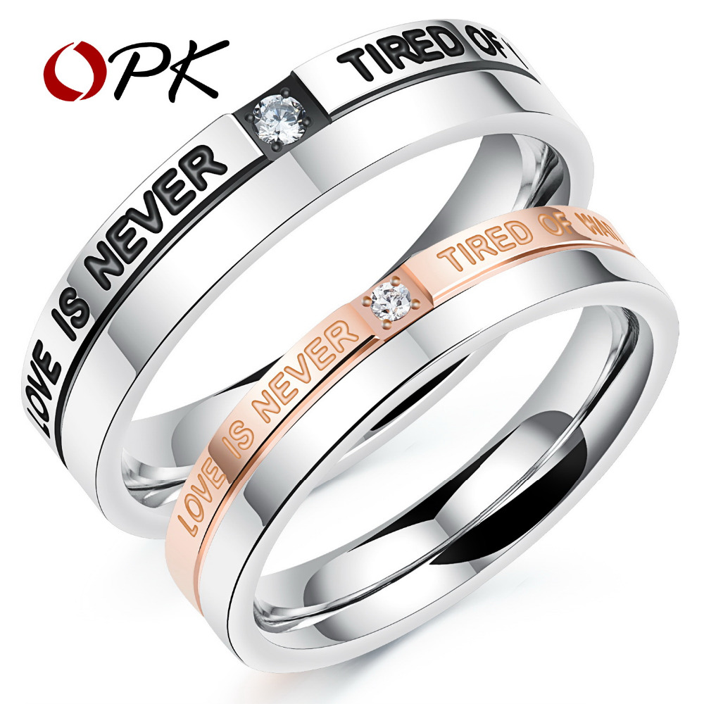 opk romantic lovers wedding rings black rose gold color with cubic zirconia stainless steel couples customized engraved gj507 - Customized Wedding Rings