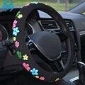 Bonito Capas de Volante Meninas Flores Dos Desenhos Animados Diam 38 cm Personalizado Tampa Da Roda de Direcção Do Carro