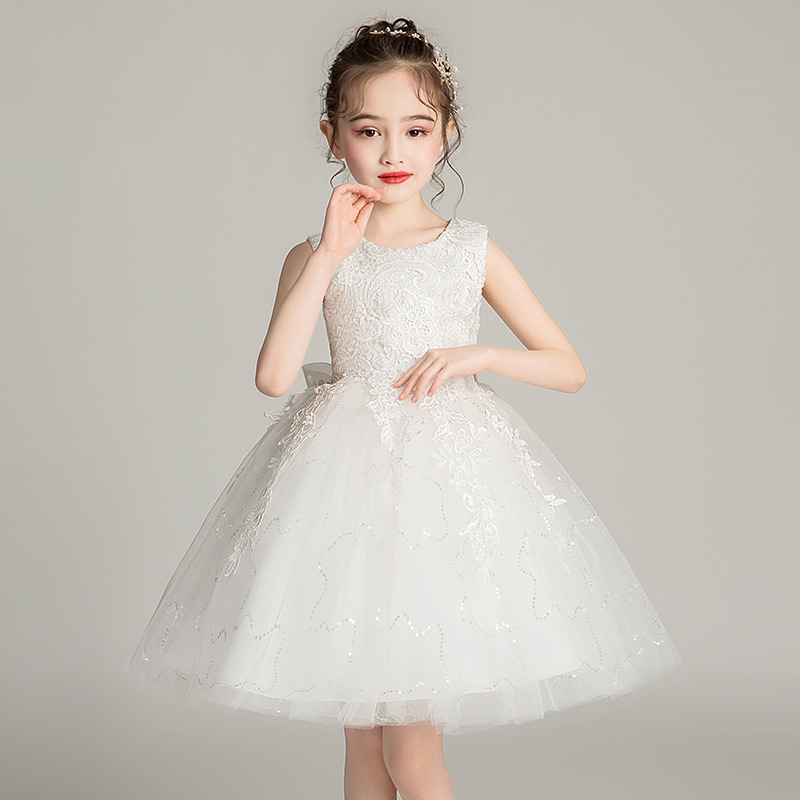 Lovely Kids   Flower     Girl     Dresses   Ball Gown Lace O-Neck Appliques Sleeveless Cute Communion   Dresses   With Bow Vestidos De Comunion