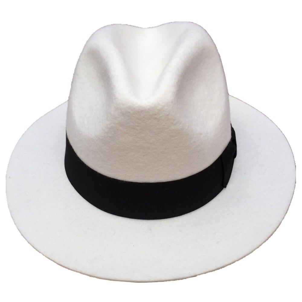 Women Mens Classic Wool Felt White Godfather Gangster -9173
