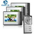 Metal aluminum shell surface Night Vision HD Camera 1V3 7inch Video Door Phone For Neighbours 3 Families Apartments