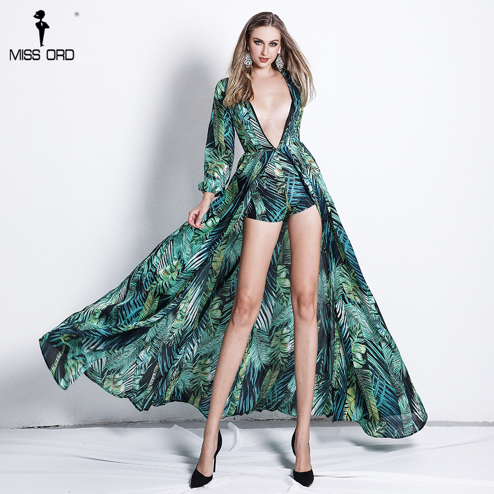 Missord 2019 Sexy  Women Sexy Deep V Rompers Long Sleeve Jumpsuit Chiffon  Peacock Print Female  Elegant  Playsuit  FT18499 peacock jumpsuit