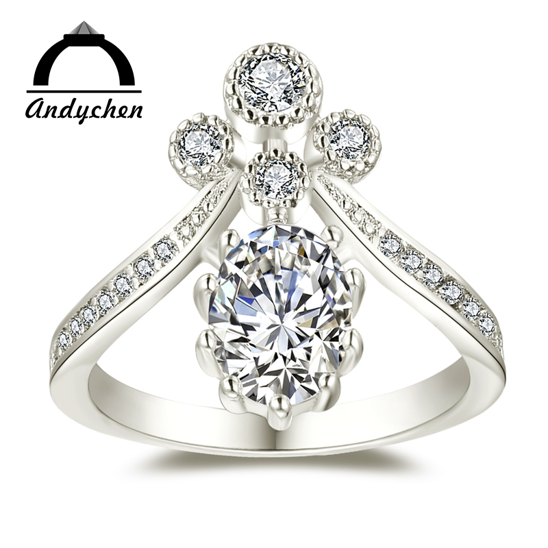 AndyChen Noble White Gold Color Wedding Engagement Rings Fashion for Women Clear AAA Zircon Jewelry Bague Bijoux Size 6 7 8 H844