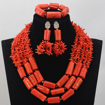 2017 New Design Latest Nigerian Coral Beads for Wedding African Coral Bridal Necklace Set for Women 2017 Hot Free ShippingABL860