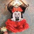 Горячая Костюм мультфильм микки Минни девушки платья 2016 дети Случайные милые девушки одежда + ремень свадебные платья детская одежда