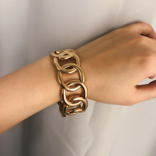 Exaggerated Punk Alloy Handwear Girl  Simple Hollow Geometric Strand Elastic Bracelet