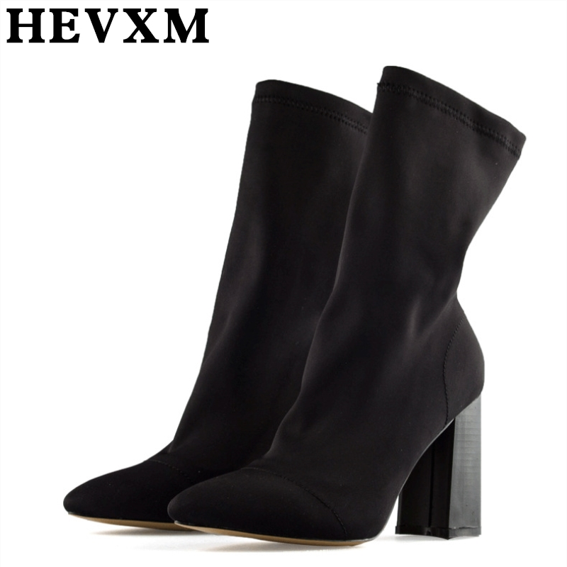 HEVXM 2017 Autumn And Winter Pointed Stovepipe Woolen Stretch Boots Women Rough With Socks Boots Woman High-Heeled Martin Boots
