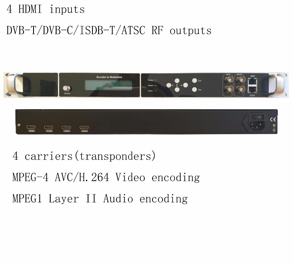 4 carriers 1080P multi HDMI to DVB-C/DVB-T/ATSC/ISDB-T encoder modulator Digital TV Headend QAM RF Modulator VEK-4782I-4/8 цены