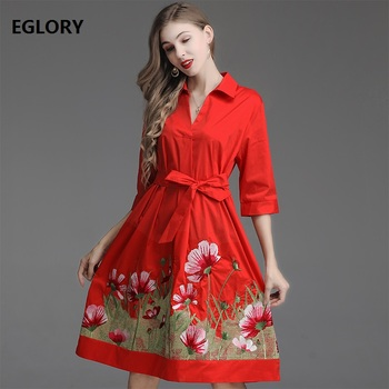 Top Quality New 2019 Summer Fashion Office Work Dress Women Turn-down Collar Floral Embroidery 3/4 Sleeve Casual Trench Dress