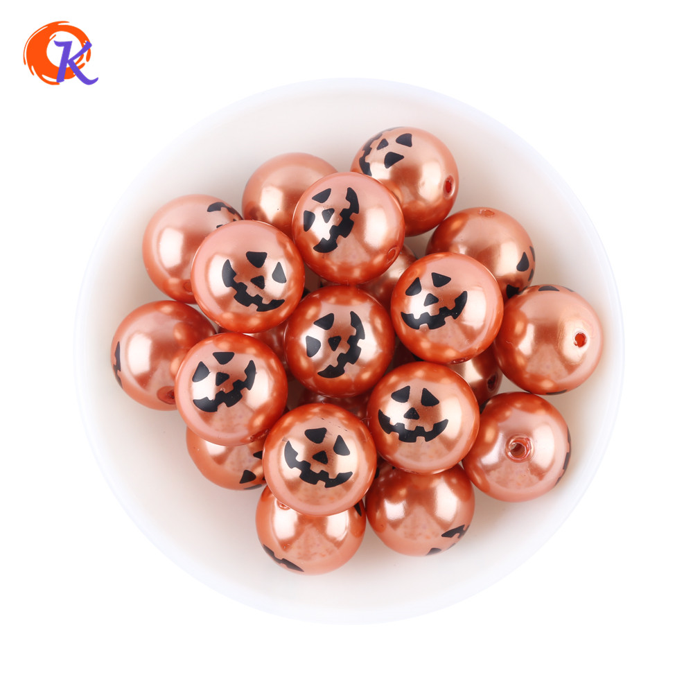 Free Shipping 20MM 100pcs lot Pumpkin Face Printed Two Sides On Pearls For Halloween Holiday Decoration