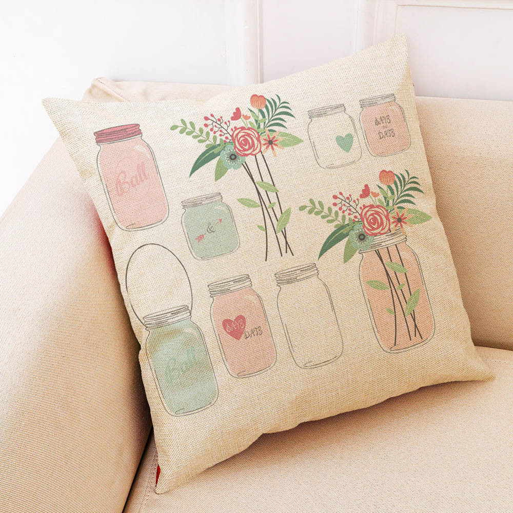Image 3 - Sunmer Time vase Multicolor printing Pillow Covers Linen Blend High Quality Sofa Waist Throw Cushion Cover Bed Home Decoration-in Cushion Cover from Home & Garden
