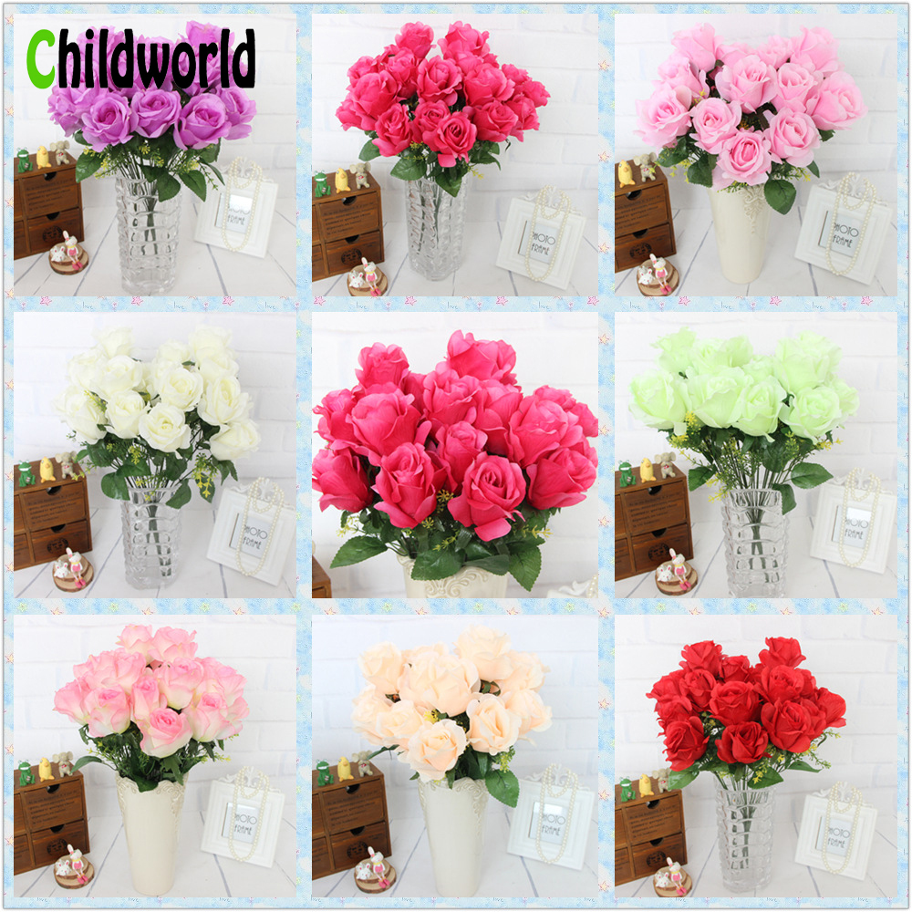 3pcs/lot 12 Heads French Artificial Roses Wedding Decoration Arched ...