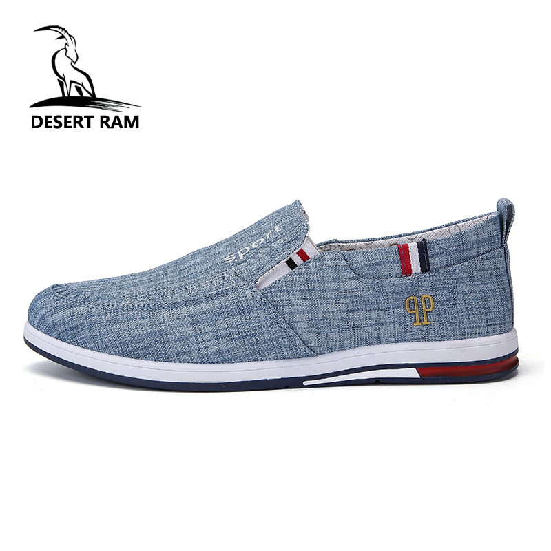 DESERT RAM Brand Fashion Casual Denim Loafers High Top Air Breathable Light Canvas Slip On Lace Up Hot Sale Boat Drive Shoes Men 2016 hot men s high top canvas shoes lace up men british fashion casual shoes adults denim cool student