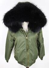 Водонепроницаемый бомбардировщик куртки большой енот меховой капюшон зимняя куртка женщин куртка природный натурального меха пальто для женщин теплый толстый подкладка 2016