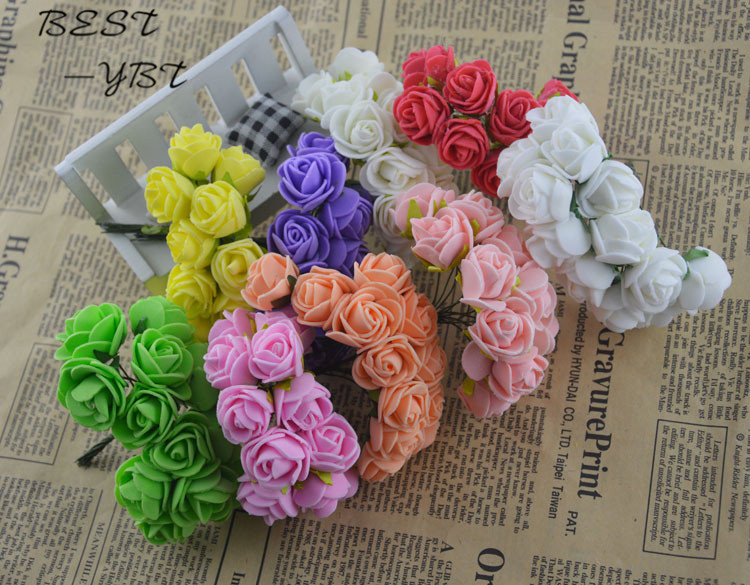 12PCS Artificial Flower Rose Headwear Decor Foam Rugosa Hep Aethiopica Colorful Hair Accessories Decoration For Wedding Party
