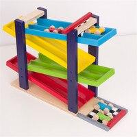 Softplaykinder Montessori Klassischen Holz Eisenbahn Spielzeug 4 STÜCKE Mini auto neue marke hohe qualität geschenk für kinder & baby