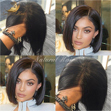 Natural Straight Short Bob Wigs 100% Virgin Brazilian Full Lace Wig With Baby Hair Glueless Human Hair Lace Front Wig