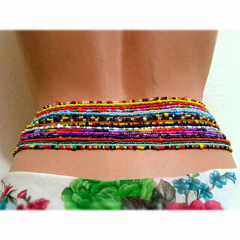 Double Strand Waist Beads, Body Jewelry, Belly Beads, Bead Jewelry, Belly Chains, Elastic Waist Chain, Body African Waists Bead