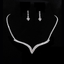 A40 Free Shipping New Women Wedding Party Crystal Rhinestone Necklace Pendant Earrings Jewelry Set