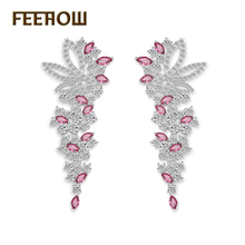 Brand Wedding Jewelry 4 Color Vintage Flower Style AAA+ Cubic Zirconia Diamond Women Dangle Earring