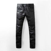 New mens Biker Jeans Motorcycle Slim Fit Washed  Black Denim skinny Pants For Men jeans