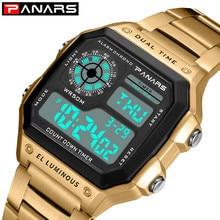 лучшая цена Women Men Gold Digital Watches Relogio Feminino Stainless Steel Sports Wrist Watch For Ladies Electronic LED Waterproof Watch