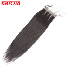 ALLRUN Brazilian Human Hair Straight 8-20 Inch 4*4 Lace Closure Natural Color Non- Remy Hair Weaving 1PC/Lot Free Shipping(China)