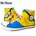 Mr.Niscar Minion Lace Up Canvas Shoes Womens Breathable Cartoon Shoes Woman Casual Shoes Women Flat Comfortable Shoes Minions