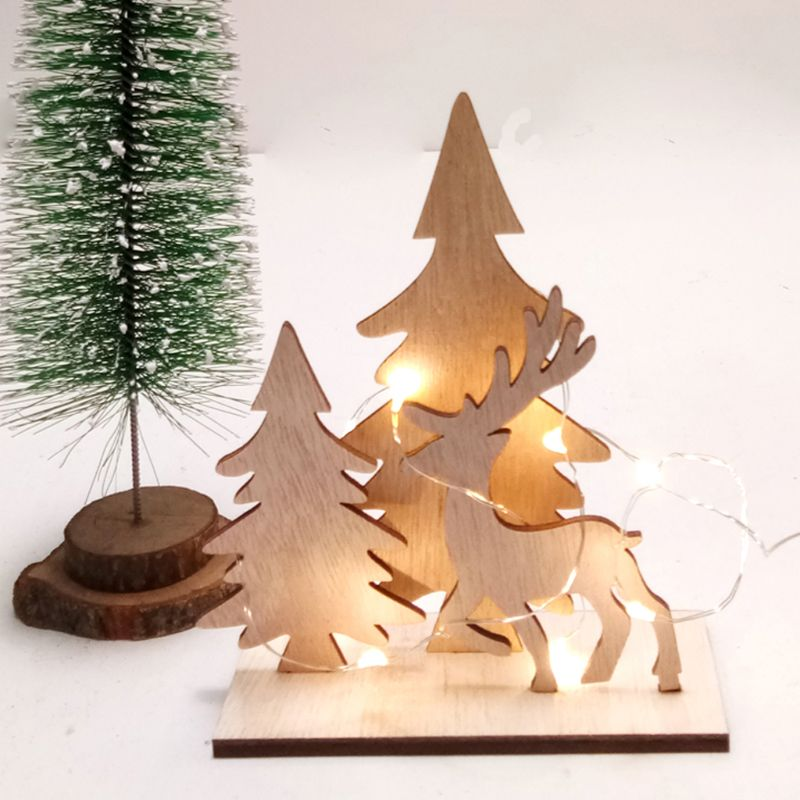 1Set Creative DIY Wooden Crafts Christmas Tree Deer Decoration Ornaments Xmas Home Party Supplies