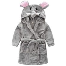 Little Girls Flannel Bathrobe ,Grey Elephant,120: 5T