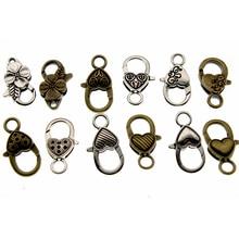 10pcs Antique Silver Bronze Lobster Clasp Hooks End Clasp for Necklace Bracelet Hook Fings bails for Pendant Bag Clasp 25x14mm