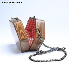 ZURICHOUSE Retro Wood Clutch Womens Handmade Arbor Unique Shoulder Bags Hexagon Shape Chain Cross Body Nature Wooded Handbags