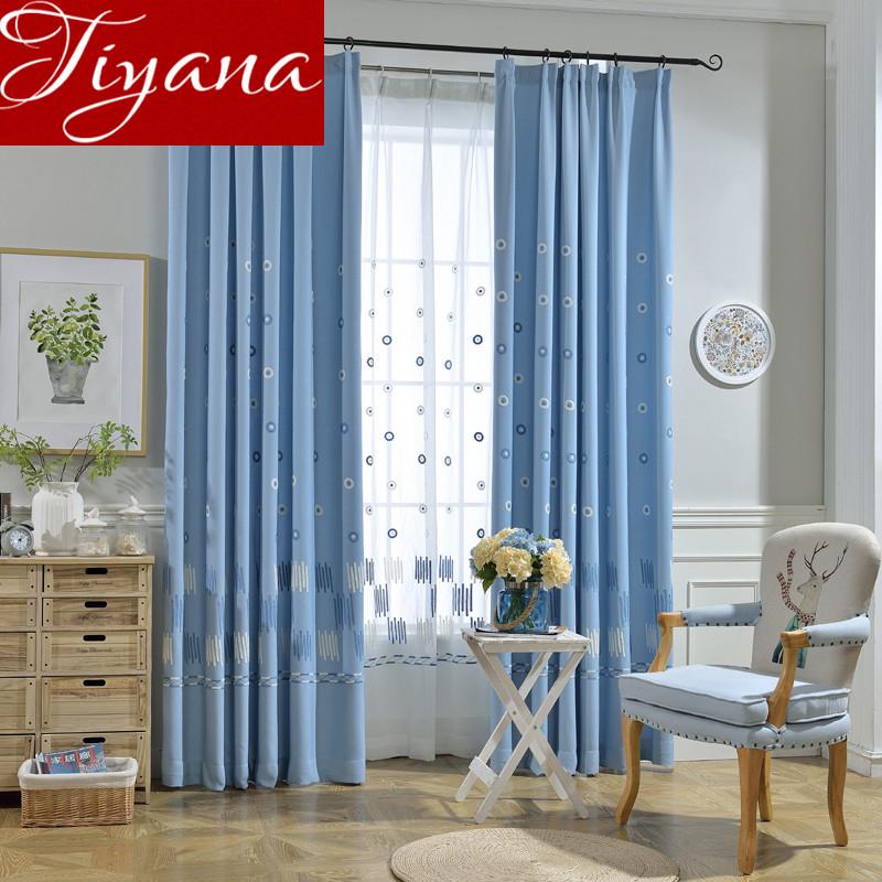 cortinas azules dormitorio habitacin de los nios de dibujos animados bordados cortinas de voile ventana de