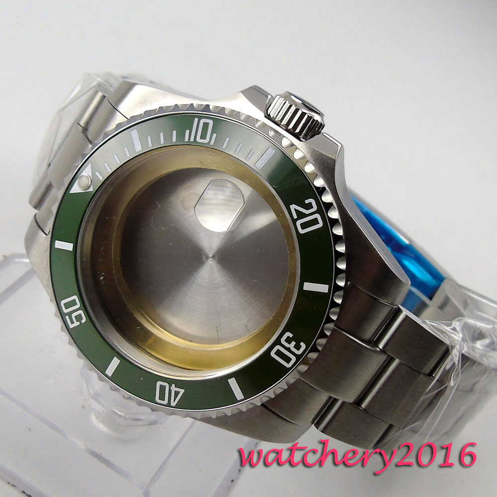 NEW 43mm green ceramic bezel sapphire glass fit ETA 2824 2836 Movement Men's Watch Case цена и фото
