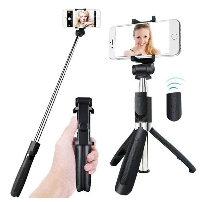 2 en 1 Bluetooth inalámbrico Selfie Sticks con trípode portátil plegable botón remoto Selfiesticks para Iphone Android Smartphones