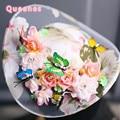 Новое Прибытие Мода Фея Женщин Свадебные Шляпки И Чародей Корейский Сладкий Красочные Бабочки Шелк Чувствовал Цветок Свадебный Шляпа Головной Убор