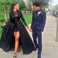Black Two Pieces Long Sleeve Prom Dresses Lace Short Inside Sexy Party Dresses O-Neck Taffeta Prom Gown Removable Skirt S611