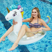 150cm Giant Sparkly Unicorn Inflatable Pool Float Glitter Pegasus Swimming Ring For Adult Children Water Floats Party Toys boia 150cm giant rose gold flamingo pool float ride on swimming ring adults inflatable floats summer water holiday party toys boia