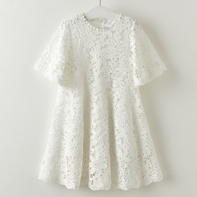 White Lace Baby Girls Dress Half Sleeve Summer Girls Children Clothing Lace Sweet Girls Dress 7Y Fashion Girls Party Dresses hot sale digital boiler electric heating temperature instruments thermostat thermoregulator 16a air underfloor with floor sensor