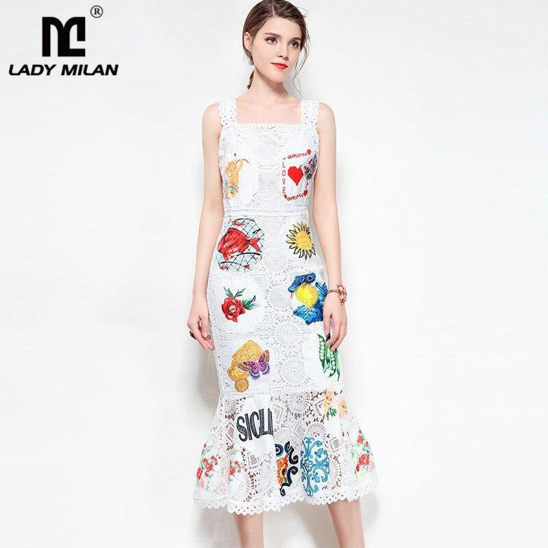 Kadın Giyim'ten Elbiseler'de Yeni Varış 2019 kadın Spagetti Sapanlar Kare Boyun Çizgisi Nakış Dantel Ruffles Moda Denizkızı Tasarımcı Pist Elbiseler'da  Grup 1