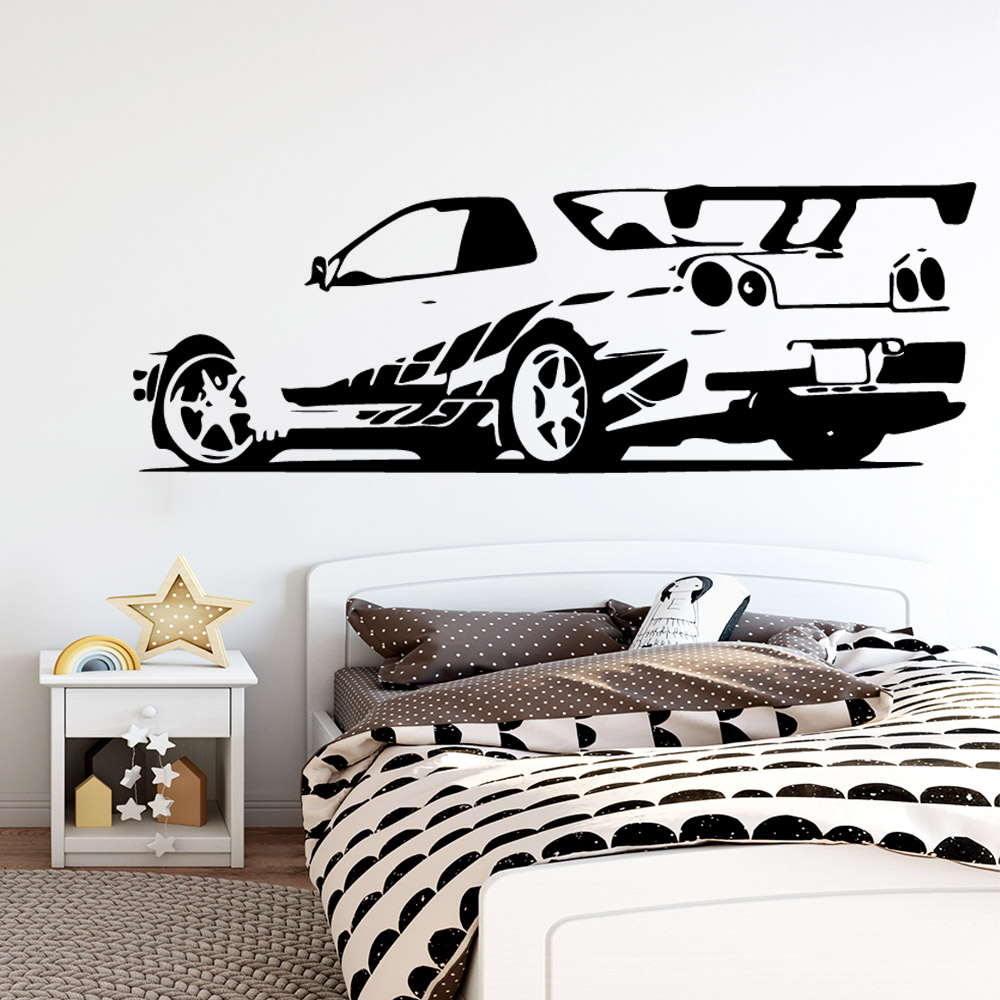 Modern Racing car Waterproof Wall Stickers Wall Art Decor For Living Room Bedroom Wall Art Decal in Wall Stickers from Home Garden