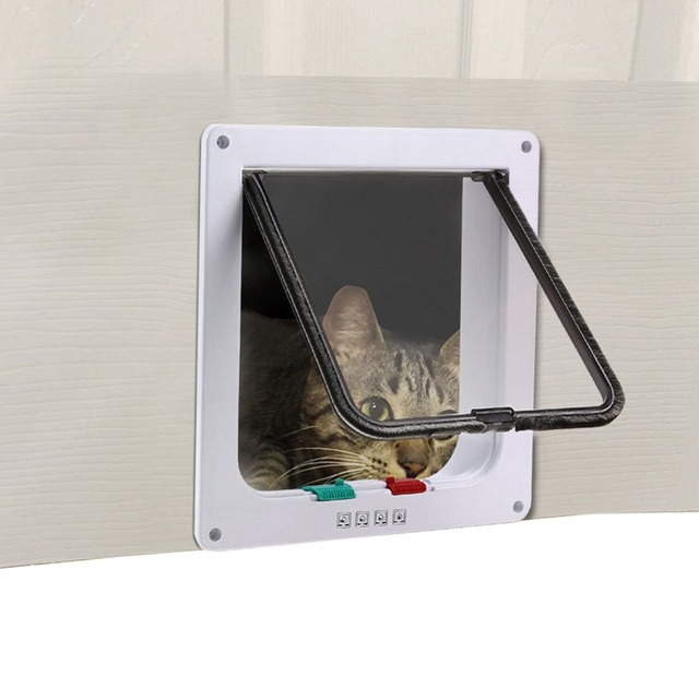 Nicrew 3 Size White Brown 4-Way Magnetic Lockable Pet Cat Dog Puppy Safe Flap Door Gate Door Lock Lockable suitable for any wall