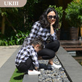 Family matching ourfits plaid cotton casual girl boy mother daughter classic shirt  father and son clothes children check shirts