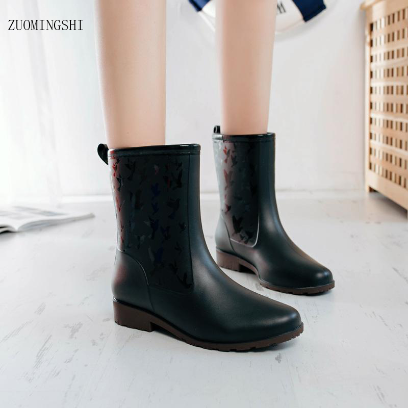 Fashion rain boots women waterproof shoes middle tube rain boots female fashionable galoshes rainboots women regenstiefel free shipping fashion madam featherweight rubber boots rainboots gumboots waterproof fishing rain boots motorcycle boots
