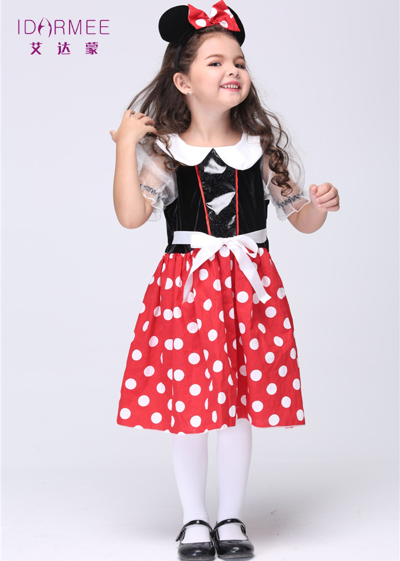 idarmee carton movie child skirts halloween costume for kids dresses outfits cute mouse costume for girls - Cheap Halloween Dresses