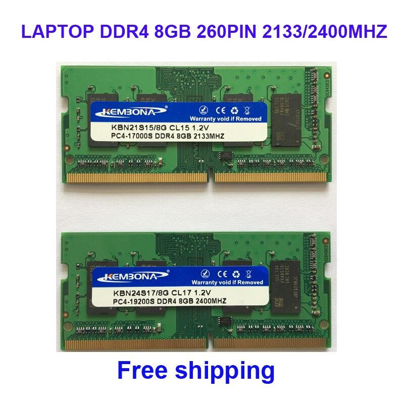 Kembona sodimm notebook ram speicher laptop ddr4 8 gb 8g 2133 mhz 2400 mhz 260pin freies verschiffen