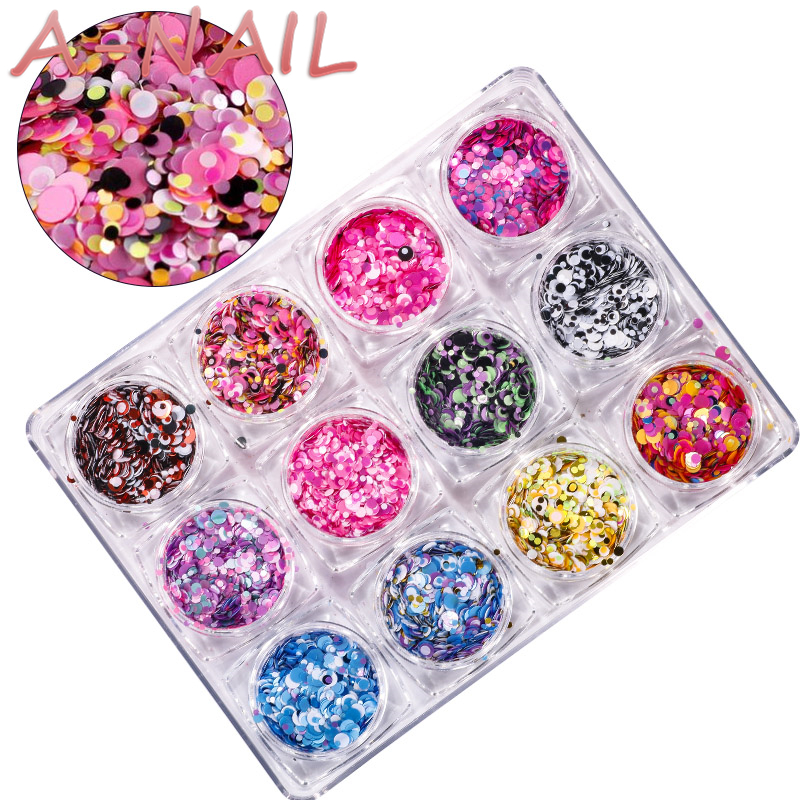 12jars/set Nail Art Glitter ROUND Shapes Confetti Sequins Acrylic Tips UV Gel A Style 1mm 2mm 3mm Manicure 3D Shiny Ultrathin 24 bottles 3d colorful shiny nail glitter powder sequins manicure festival nail art decorations for women
