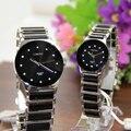 Relógios comerciais requintados das mulheres da Qualidade superior de quartzo relógio Preto Branco de cerâmica relógio de senhora nova LONGBO Marca Presente relógios de pulso